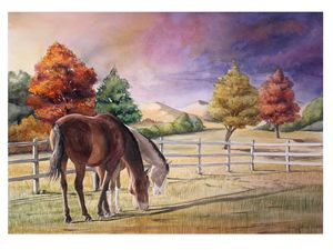 Horses feeding after a Storm - Byron Chaney's Illustration and Design