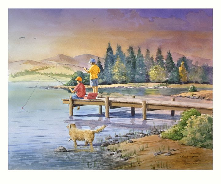 Boys fishing - Byron Chaney's Illustration and Design