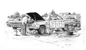 Wendell Scott in the pits - Byron Chaney's Illustration and Design