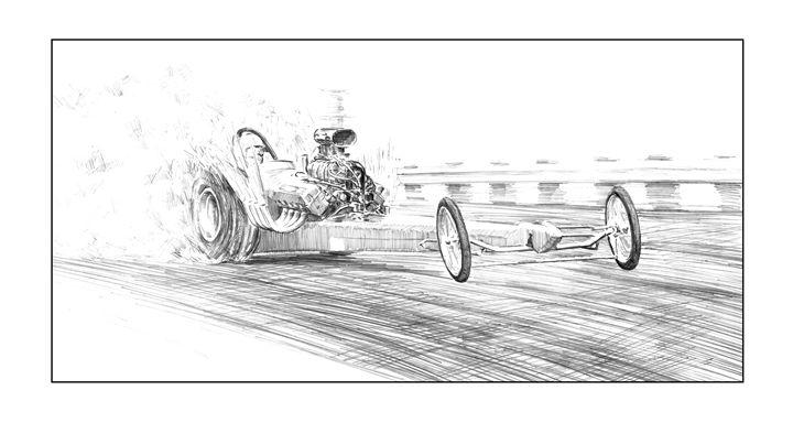 Dragster burnout - Byron Chaney's Illustration and Design