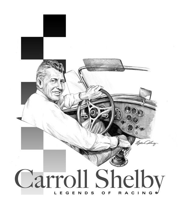 Carroll Shelby Portrait - Byron Chaney's Illustration and Design
