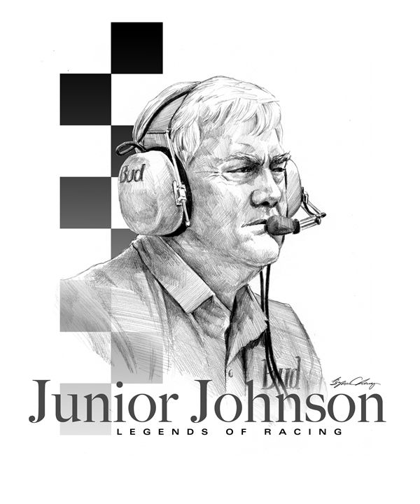 Junior Johnson Portrait - Byron Chaney's Illustration and Design