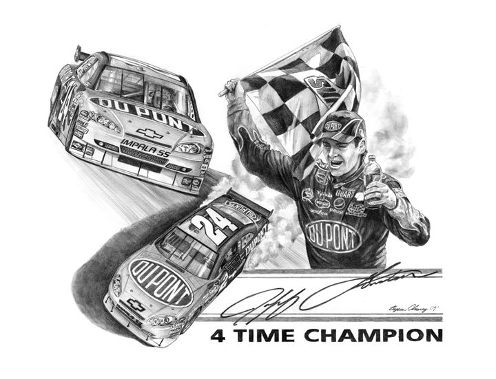 4 Time Champion Jeff Gordon - Byron Chaney's Illustration and Design