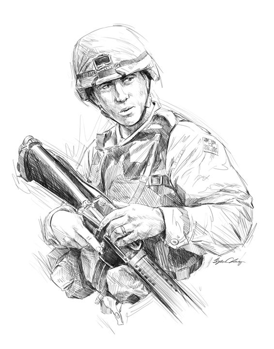 Army Soldier digital portrait - Byron Chaney's Illustration and Design