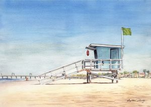 Huntington Beach Lifeguard stand - Byron Chaney's Illustration and Design