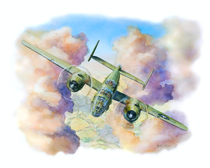 B25 Mitchell splitting the clouds - Byron Chaney's Illustration and Design