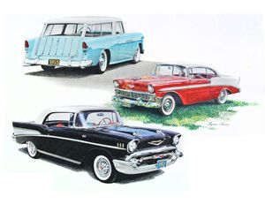 Three Chevy's of the 1950's - Byron Chaney's Illustration and Design