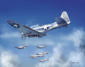SBD Dauntless in the sky - Byron Chaney's Illustration and Design