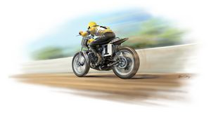 Kenny Roberts TZ750 at speed - Byron Chaney's Illustration and Design