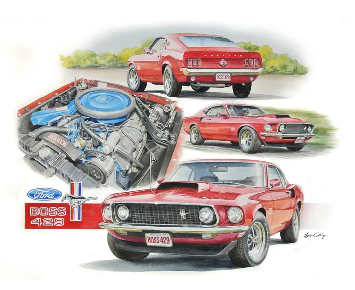 Boss 429 Mustang - Byron Chaney's Illustration and Design