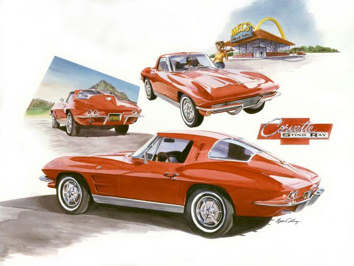 63' Split Window Corvette - Byron Chaney's Illustration and Design