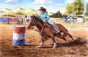 Barrel Rider Red-White-Blue - Byron Chaney's Illustration and Design