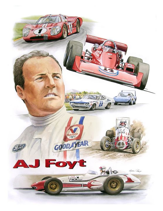 AJ Foyt Portrait - Byron Chaney's Illustration and Design