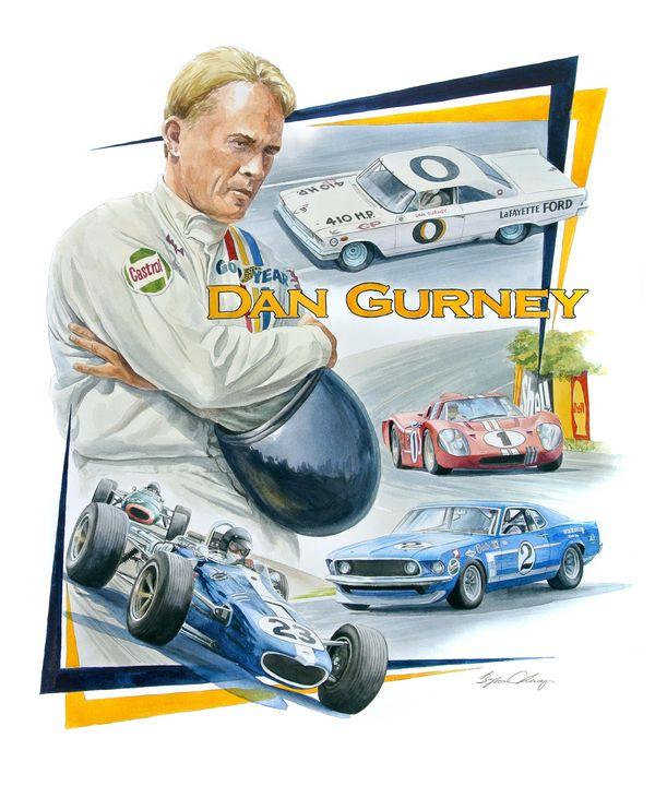 Dan Gurney Portrait - Byron Chaney's Illustration and Design