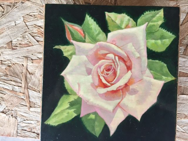 Rose hand painted on wooden box. - Mark D Shark