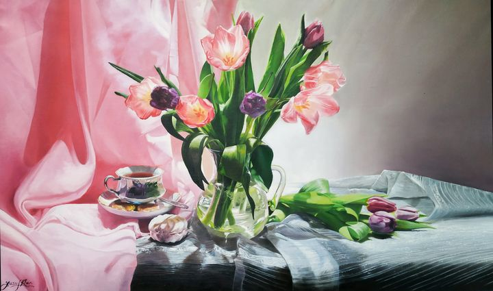 Pink Flowers In a Pot by Yusuf Khan - Yusuf Khan Artist