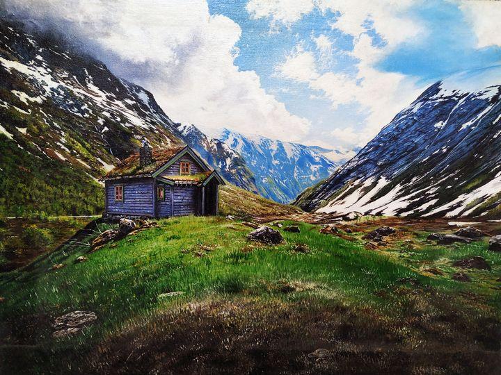 A Hut Near Mountains by Yusuf Khan - Yusuf Khan Artist
