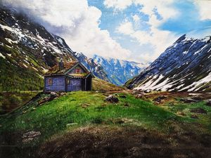 A Hut Near Mountains by Yusuf Khan