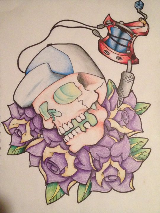 Skull and rose - comic and cartoon