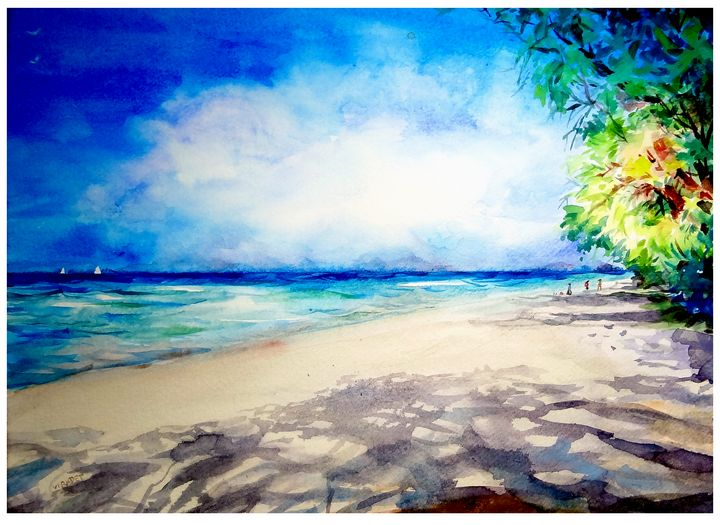 Phuket Beach - Watercolor painting - antony bigs