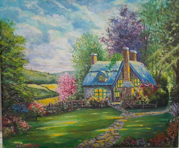 Acrylic Landscape - Hidden Cottage - MyArtBoutique