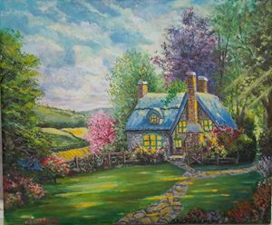 Acrylic Landscape - Hidden Cottage