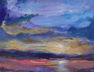Colorado sunset over lake