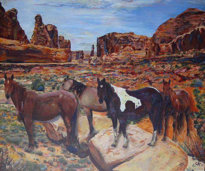 Wild horses in Moab Utah - Chris Rutledge - Paintings ...