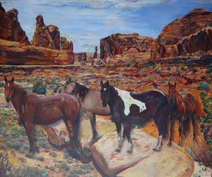 Wild horses in Moab Utah