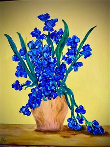 Blue flowers - SJOriginal Paintings