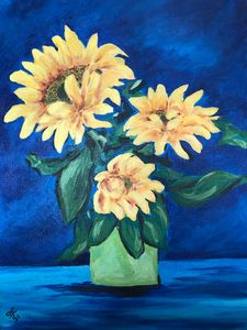 Yellow sunflowers Oil Painting 16x20
