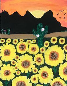 sunflowers in the desert