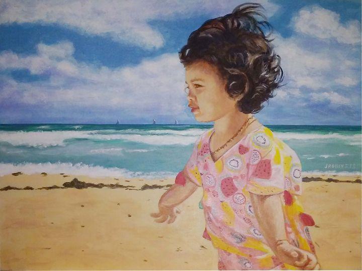 Mia at the beach - J. Robin E Art