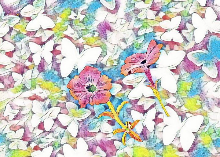 Flowers on abstract background - Strange World