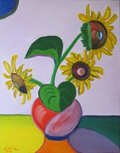 Red Vase with Three Sunflowers