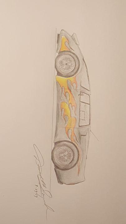 Pencil Drawing of Race Car - DavidMG