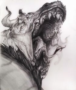 Unicorn and its pet dragon