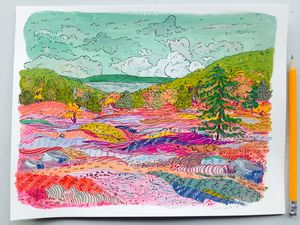 Blueberry Barrens - Gouache & Ink