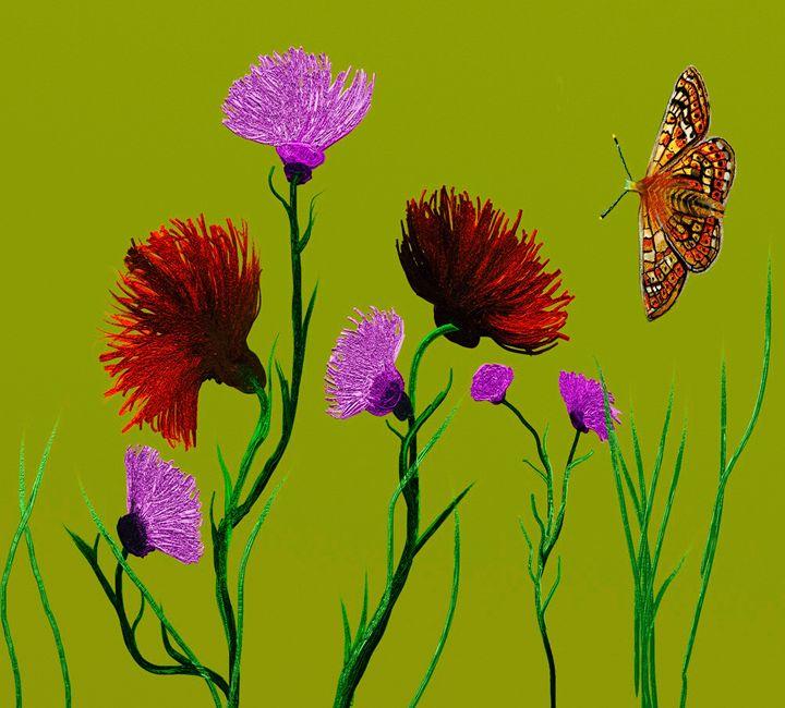 Digital flowers on green background - KJHART