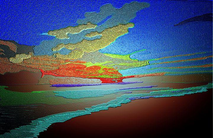 Blue sky and sea abstract art - KJHART