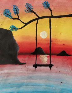 Swing upon a lake Watercolor Artwork