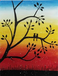 Bird on a Tree Bark Painting