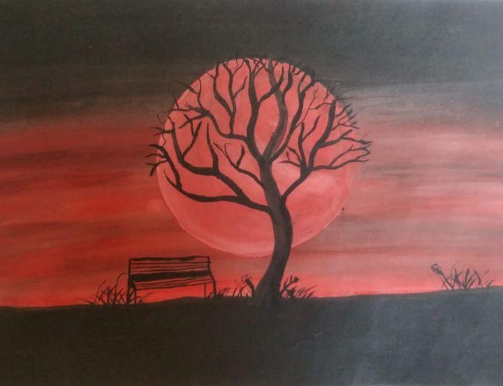 Blood Moon Watercolor Art - Art Prime