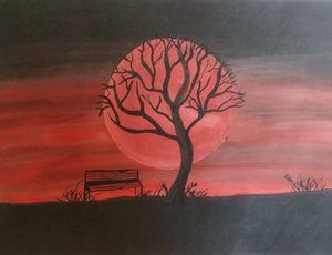 Blood Moon Watercolor Art