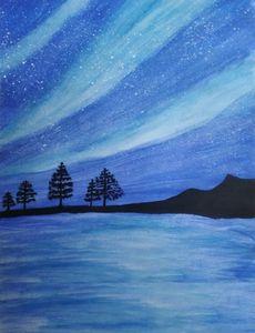 Aurora Night Sky Painting