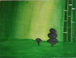 Green Fields Bamboo Oil Pastels Art