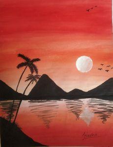 Sunset Beach Landscape Painting