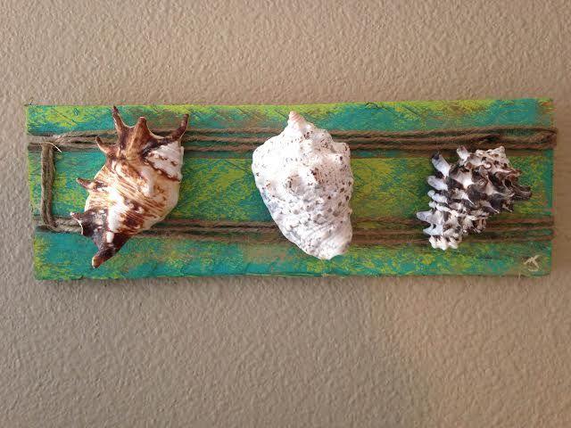 Seashells & Distressed Tropical Wood - Jamie's Beach Art