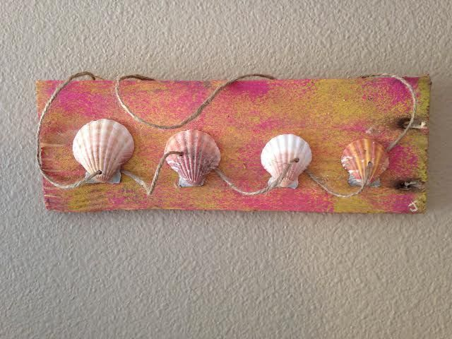 Seashells & Distressed Tropical Wood - Jamie's Beach Art