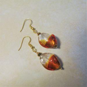 Orange twist glass earrings